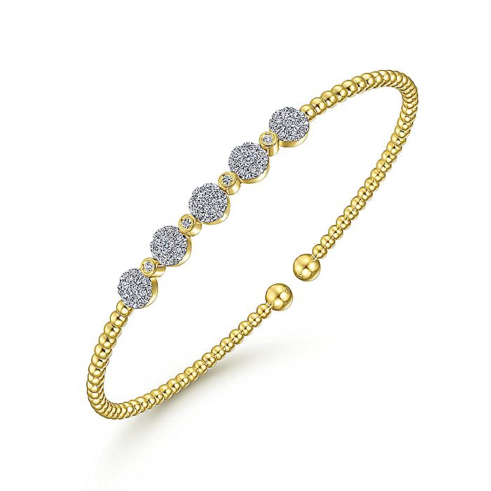 14K Yellow Gold Bujukan Cuff Bracelet with Pavé Diamond Cluster Stations