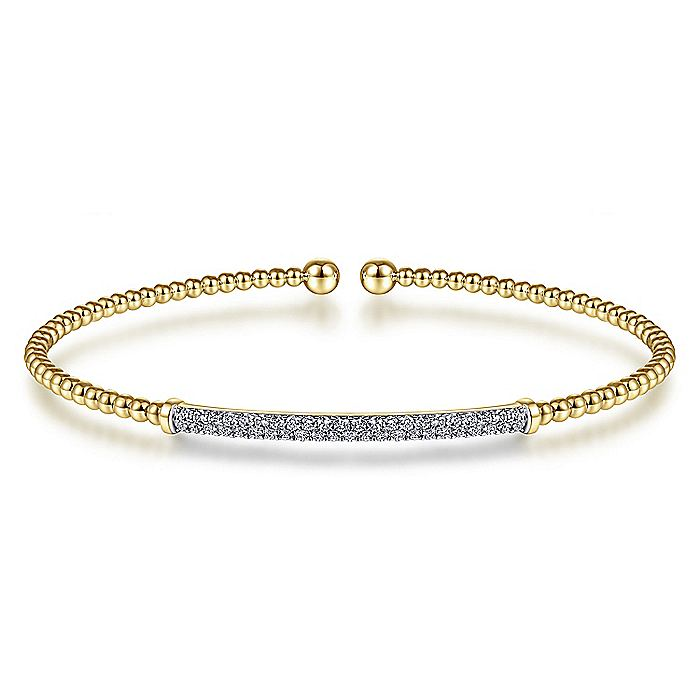 14K Yellow Gold Bujukan Split Cuff Bracelet with Diamond Pavé Bar