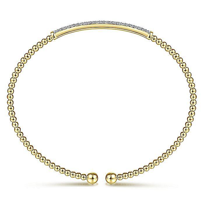 14K Yellow Gold Bujukan Split Cuff Bracelet with Diamond Pavé Bar