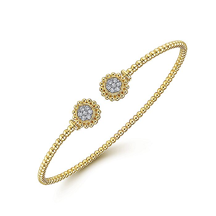 14K Yellow Gold Bujukan Split Cuff Bracelet with Diamond Pavé Flower Caps
