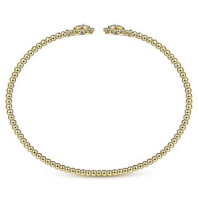 14K Yellow Gold Bujukan Split Cuff Bracelet with Diamond Pavé Flower Caps