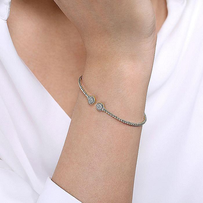 14K Yellow Gold Bujukan Split Cuff Bracelet with Diamond Pavé Hexagon Caps