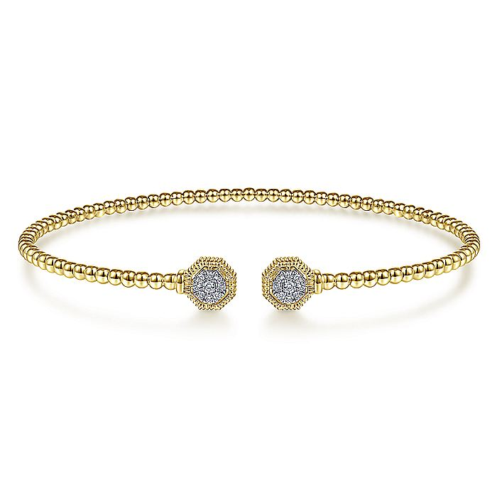 14K Yellow Gold Bujukan Split Cuff Bracelet with Diamond Pavé Hexagon Caps
