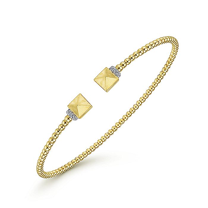 14K Yellow Gold Bujukan Split Cuff Bracelet with Pyramid and Diamond Caps