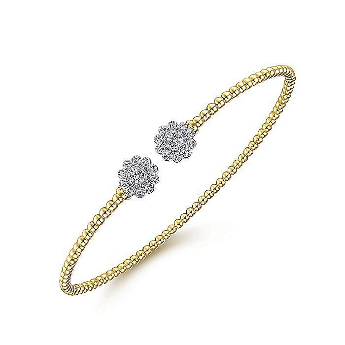 14K Yellow Gold Bujukan Split Cuff Bracelet with White Gold Diamond Flowers