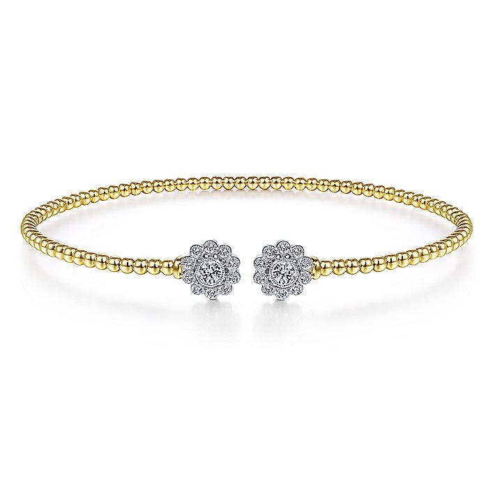 14K Yellow Gold Bujukan Split Cuff Bracelet with White Gold Diamond Flowers