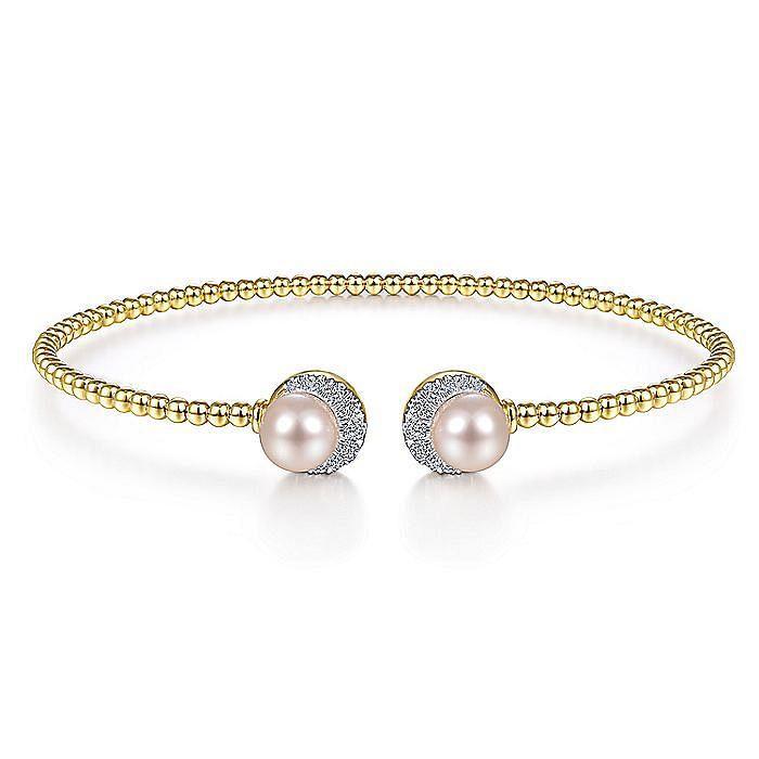 14K Yellow Gold Bujukan Split Cuff with Pearl and Diamond Halo Caps