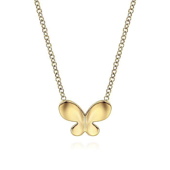 14K Yellow Gold Butterfly Plain Necklace