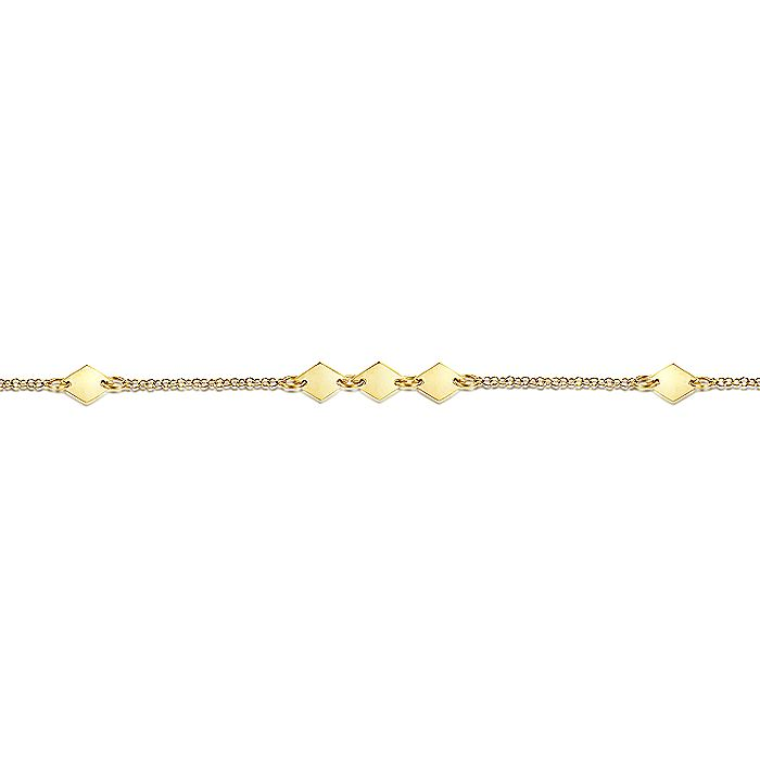 14K Yellow Gold Chain Ankle Bracelet with Diamond Shaped Stations