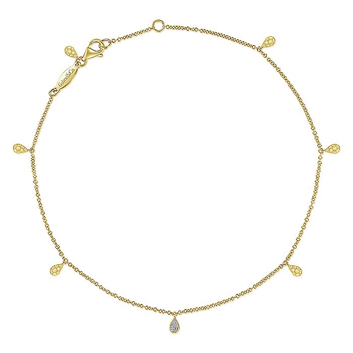 14K Yellow Gold Chain Ankle Bracelet with Hammered and Diamond Teardrops