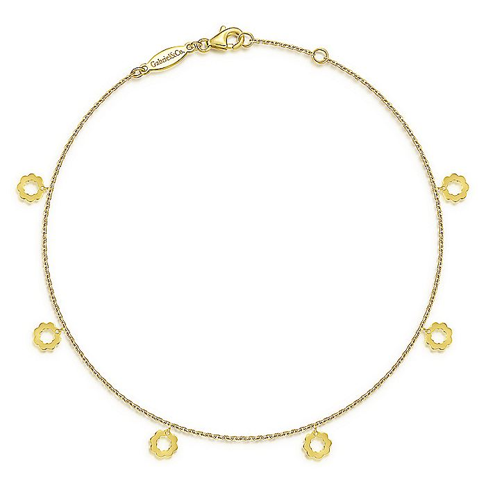 14K Yellow Gold Chain Ankle Bracelet with Open Flower Charm Drops