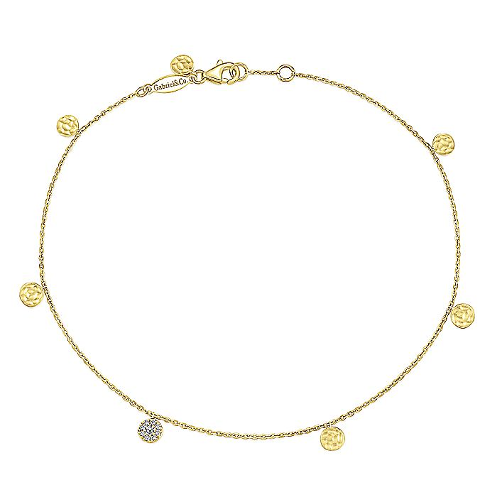 14K Yellow Gold Chain Ankle Bracelet with Round Hammered and Diamond Disc Drops