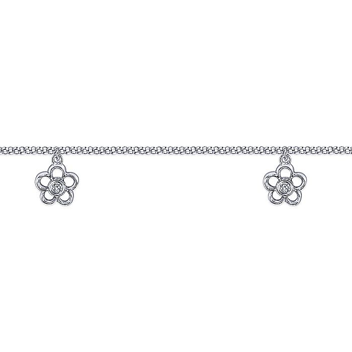 14K Yellow Gold Chain Ankle Bracelet with White Gold Diamond Flower Charms