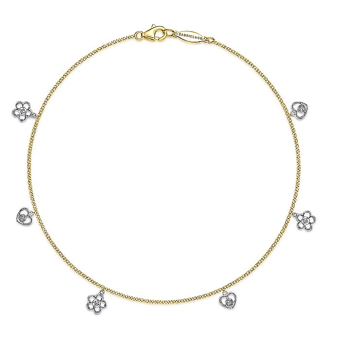 14K Yellow Gold Chain Ankle Bracelet with White Gold Diamond Flower and Heart Charms