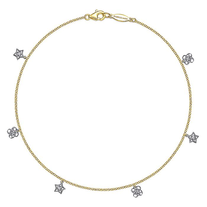14K Yellow Gold Chain Ankle Bracelet with White Gold Diamond Flower and Star Charms