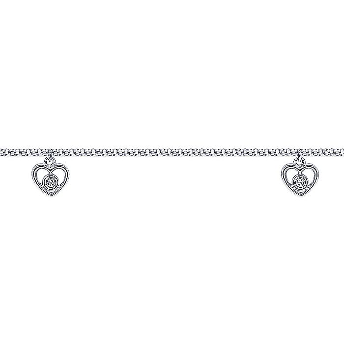 14K Yellow Gold Chain Ankle Bracelet with White Gold Diamond Heart Charms