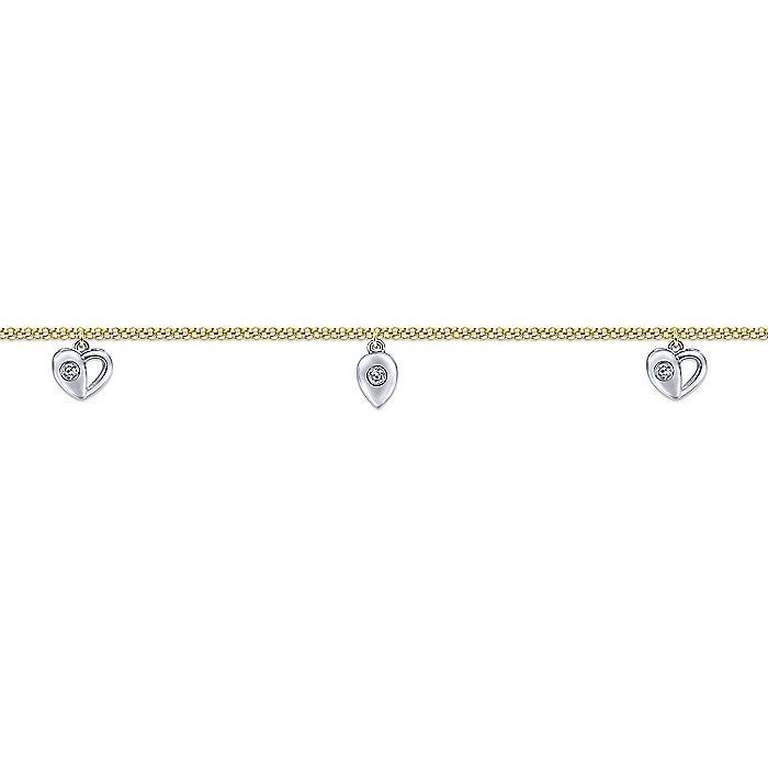 14K Yellow Gold Chain Ankle Bracelet with White Gold Diamond Heart and Teardrop Charms