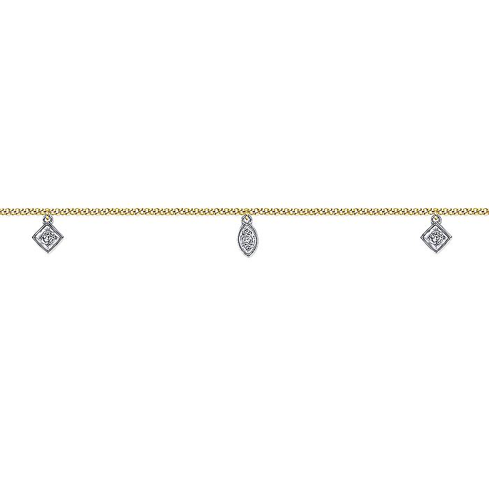 14K Yellow Gold Chain Ankle Bracelet with White Gold Diamond Leaf and Square Charms