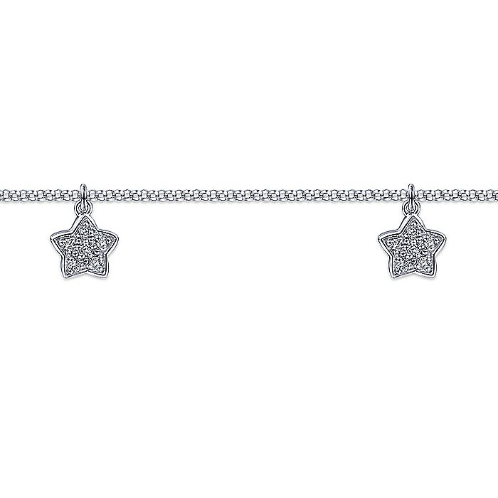 14K Yellow Gold Chain Ankle Bracelet with White Gold Diamond Star Charms