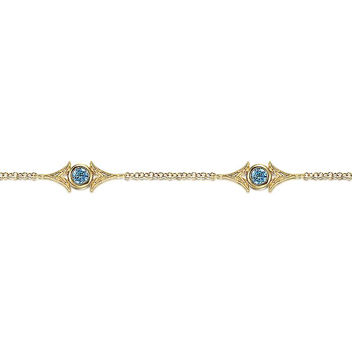 14K Yellow Gold Chain Bracelet with Blue Topaz Triangle Stations