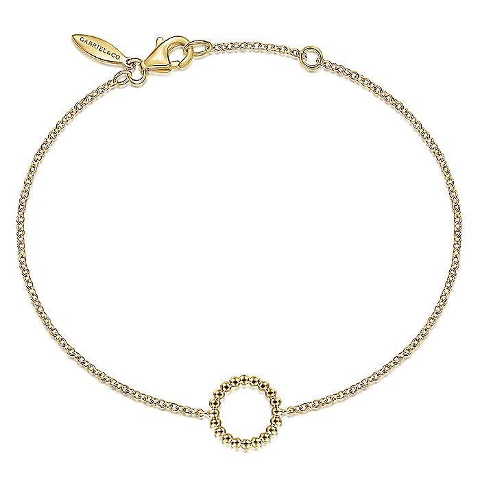 14K Yellow Gold Chain Bracelet with Bujukan Beaded Circle