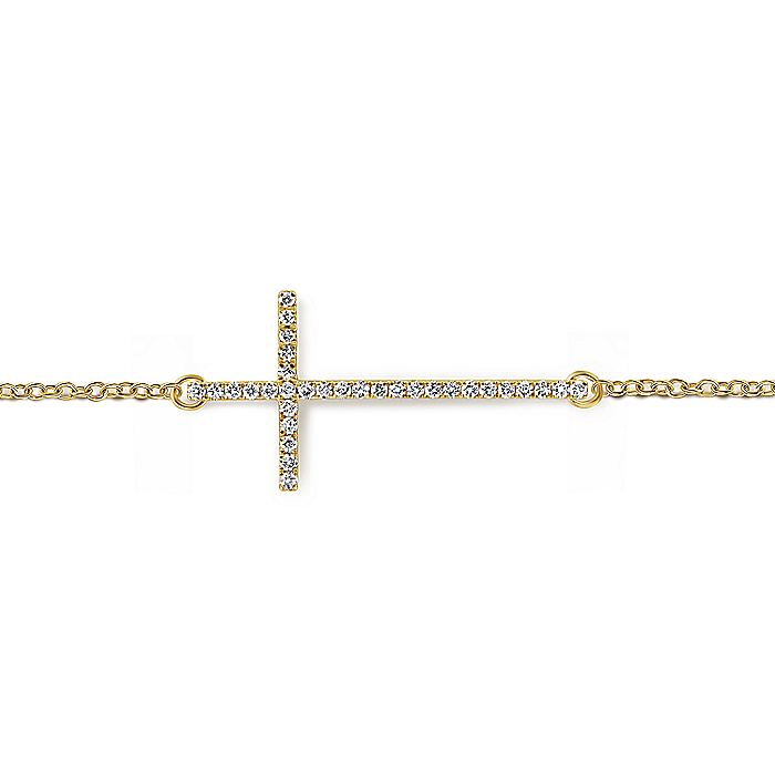 14K Yellow Gold Chain Bracelet with Diamond Cross
