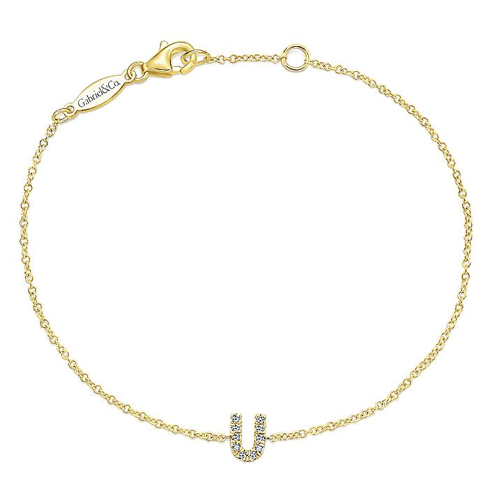14K Yellow Gold Chain Bracelet with Diamond