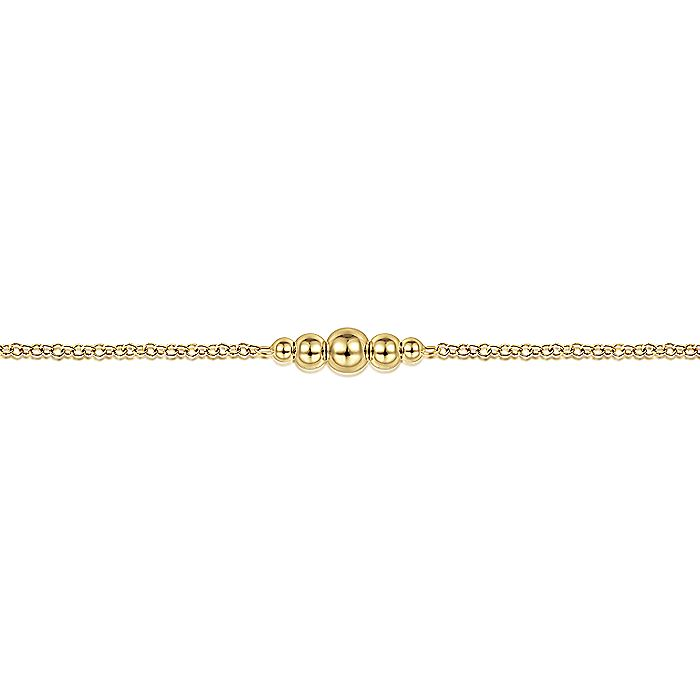 14K Yellow Gold Chain Bracelet with Graduating Bead Stations