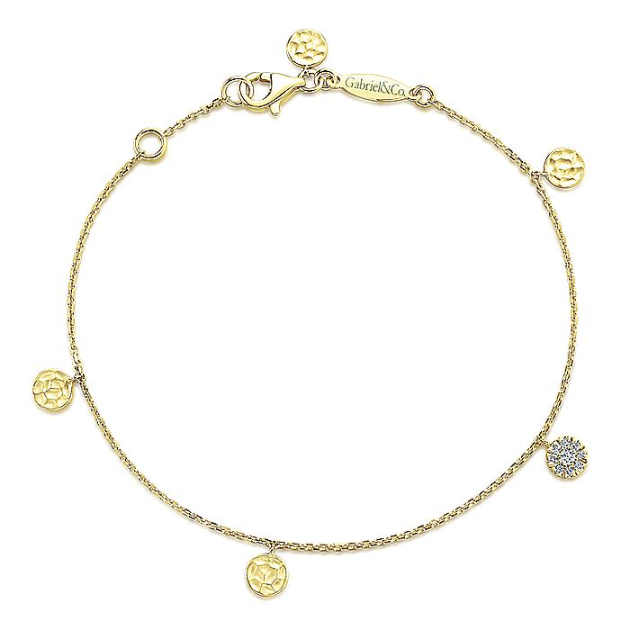 14K Yellow Gold Chain Bracelet with Hammered and Pavé Diamond Discs