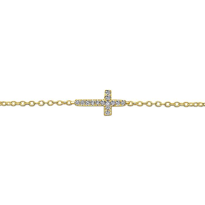 14K Yellow Gold Chain Bracelet with Horizontal Diamond Cross