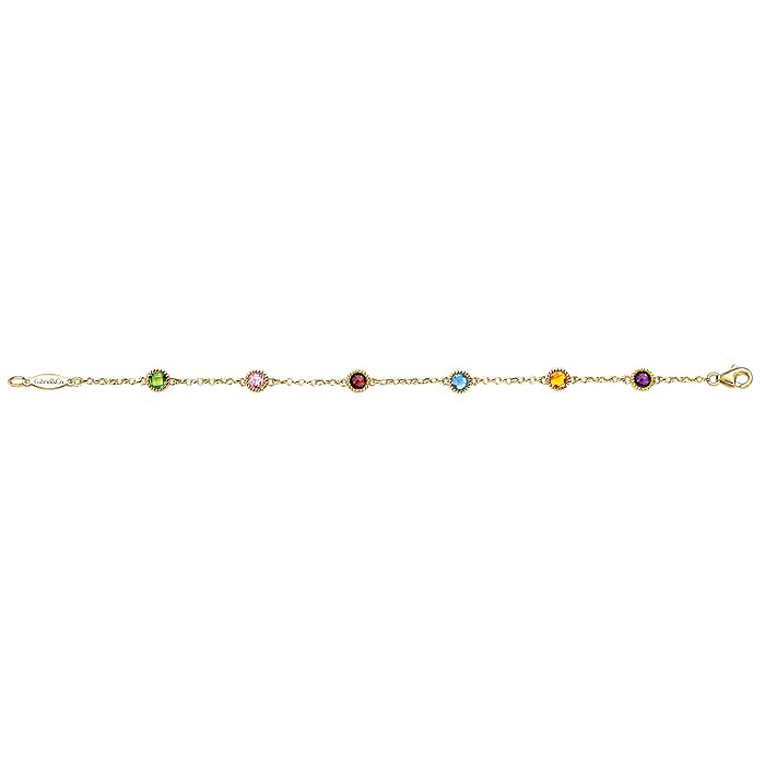 14K Yellow Gold Chain Bracelet with Multi Color Stone Stations