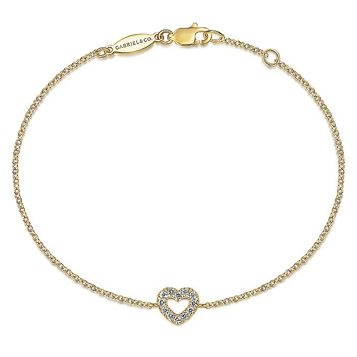 14K Yellow Gold Chain Bracelet with Pavé Diamond Heart