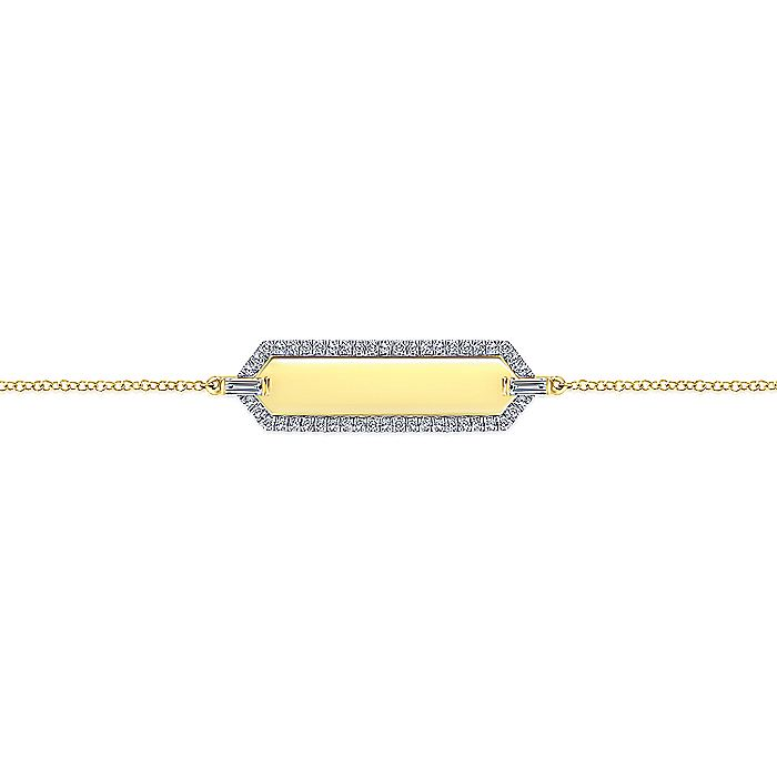 14K Yellow Gold Chain Bracelet with Rectangular Diamond Framed Engravable ID