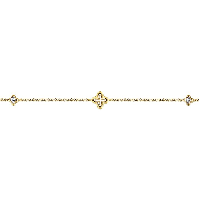 14K Yellow Gold Chain Bracelet with White Sapphire Clover Stations