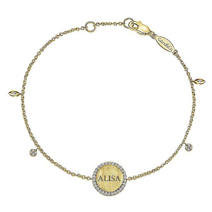 14K Yellow Gold Chain Engravable Bracelet