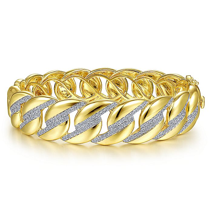 14K Yellow Gold Chain Link Bangle with Diamond Pavé Stations