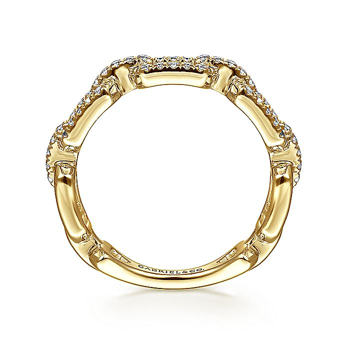 14K Yellow Gold Chain Link Diamond Stackable Ring