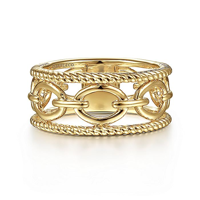 14K Yellow Gold Chain Link Ring with Twisted Rope Frame