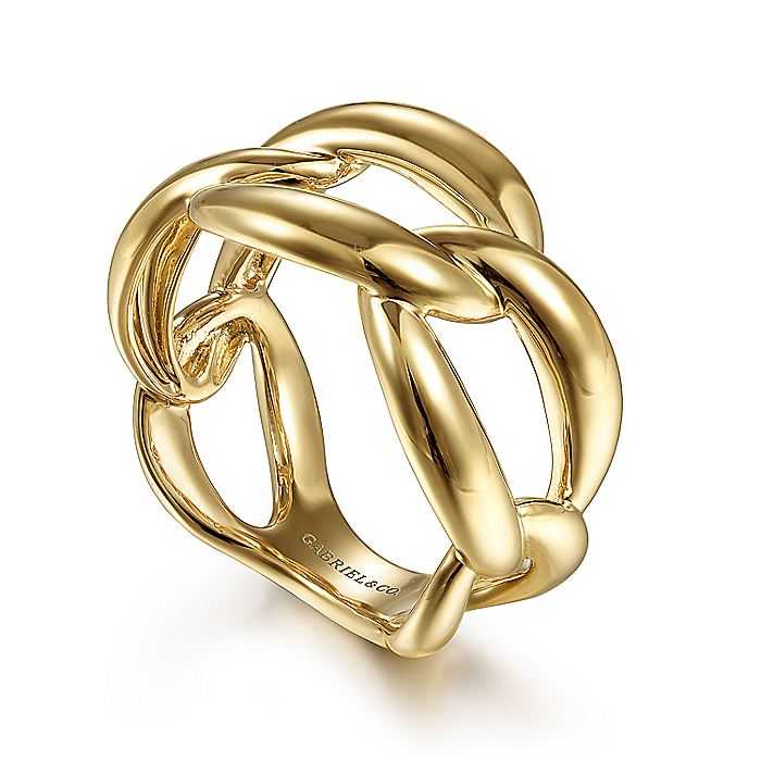 14K Yellow Gold Chain Link Ring