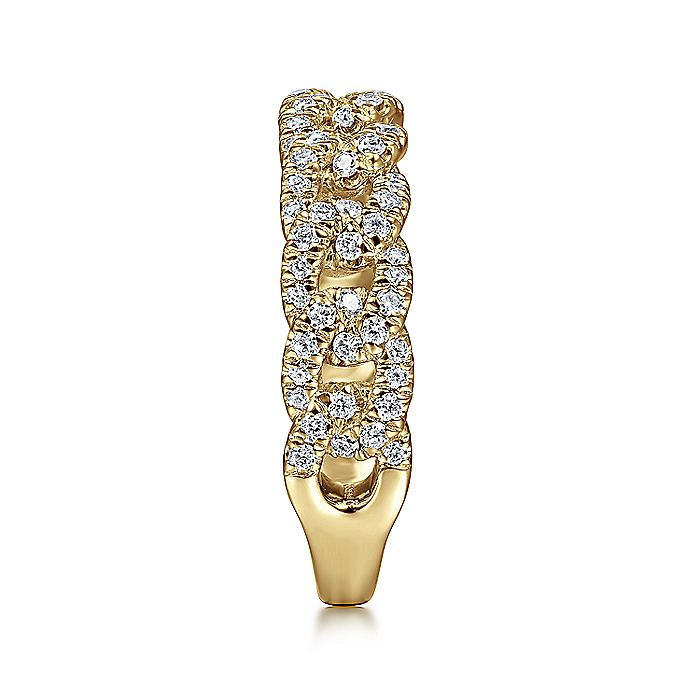 14K Yellow Gold Chain Link Stackable Diamond Ring