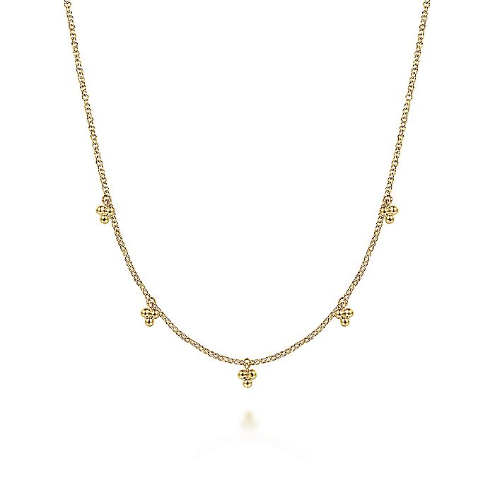 14K Yellow Gold Chain Necklace with Bujukan Bead Drop Stations