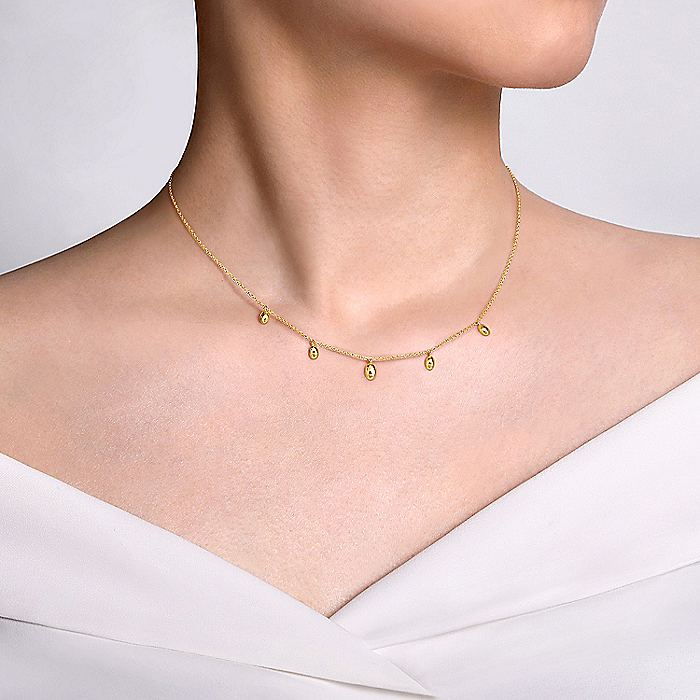 14K Yellow Gold Chain Necklace with Bujukan Bead Drops