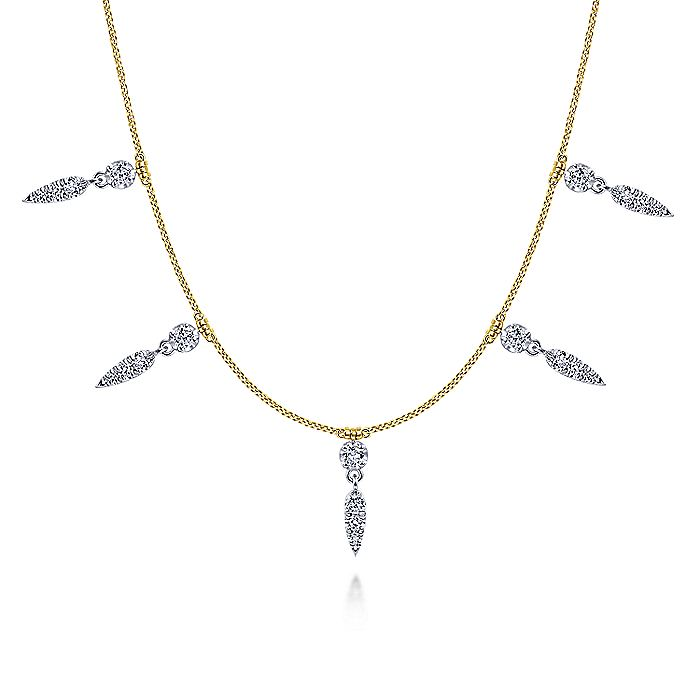 14K Yellow Gold Chain Necklace with Diamond Spike Stations