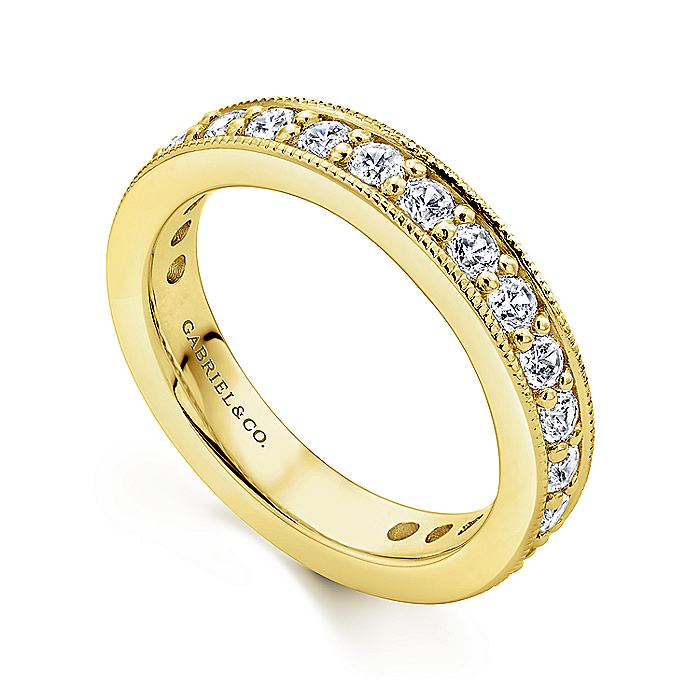 14K Yellow Gold Channel Prong Set Diamond Eternity Band