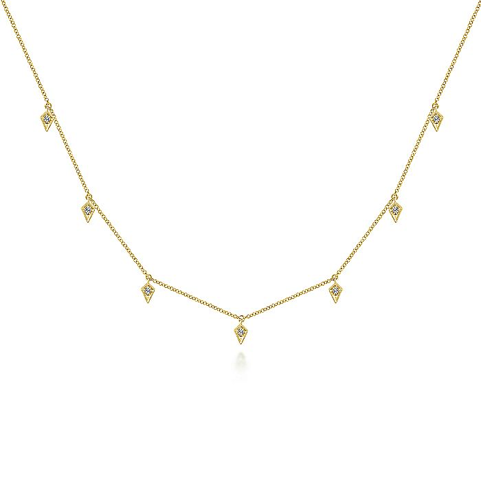 14K Yellow Gold Choker Necklace with Diamond Kite Drops