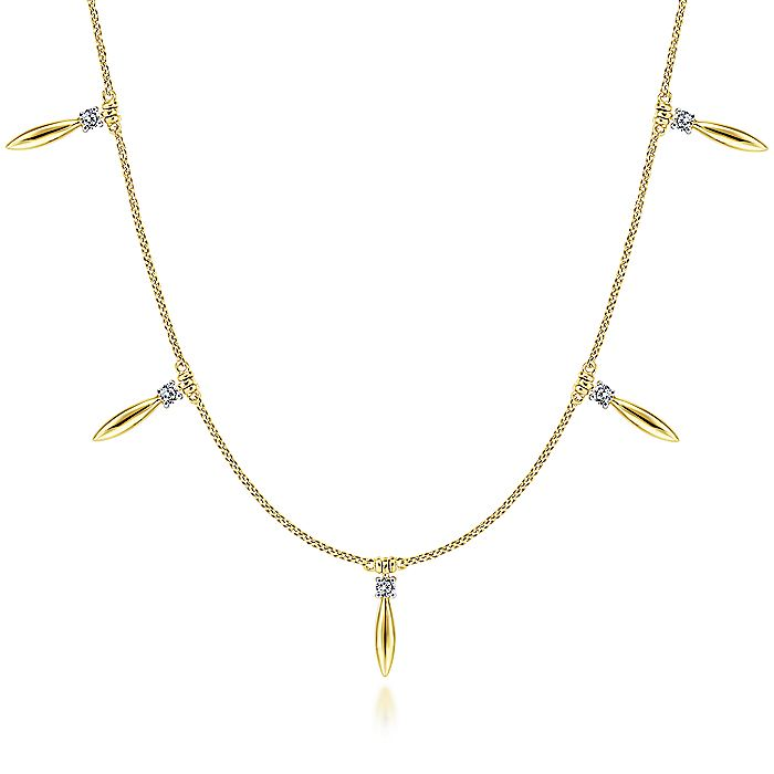 14K Yellow Gold Choker Necklace with Diamond and Spike Drops