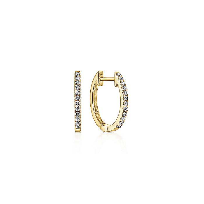 14K Yellow Gold Classic 10mm Pavé Diamond Huggie Earrings