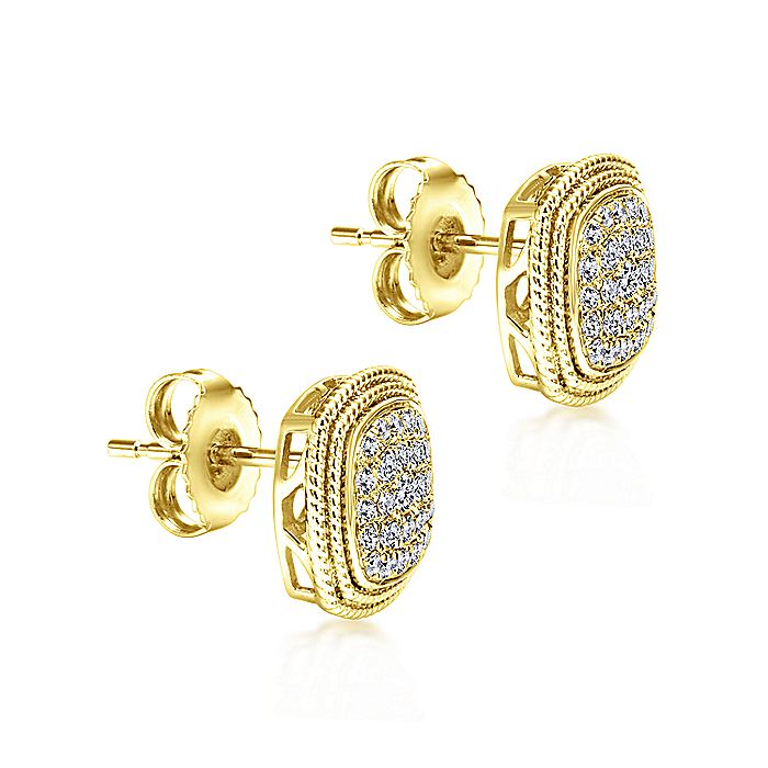 14K Yellow Gold Cluster Diamond Cushion Stud Earrings with Millgrain Border