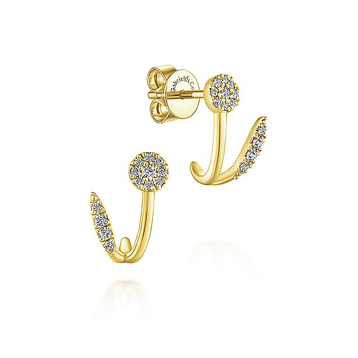 14K Yellow Gold Cluster Diamond J Curve Earrings