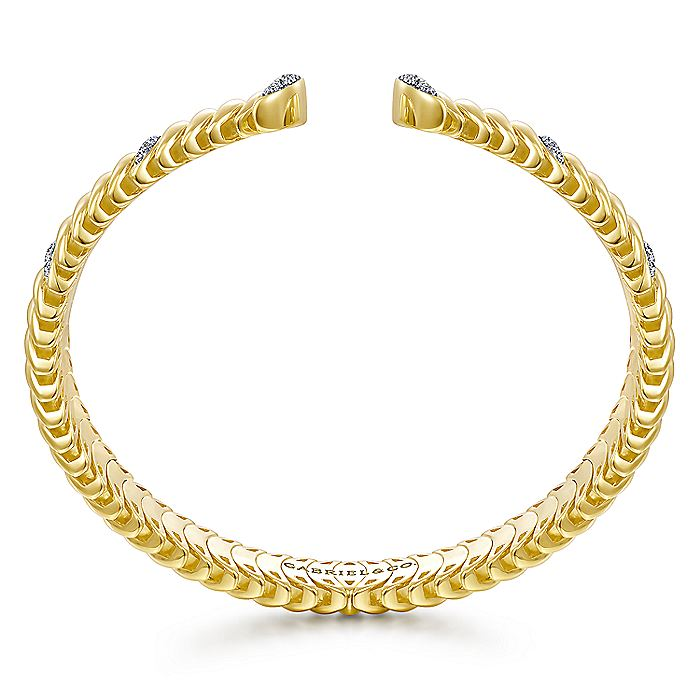 14K Yellow Gold Crescent Moon Open Cuff Bracelet with Diamond Pavé Stations